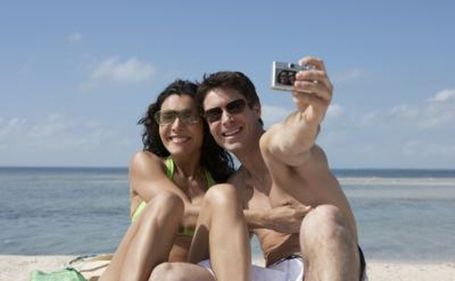 Couple on vacation taking a photo together.