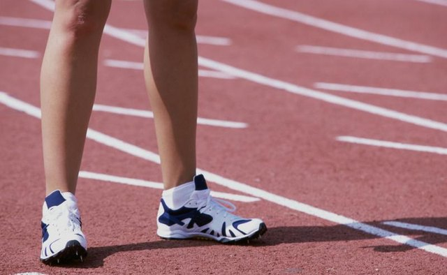 Running shoes on a track