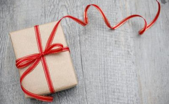 A wrapped present with ribbon