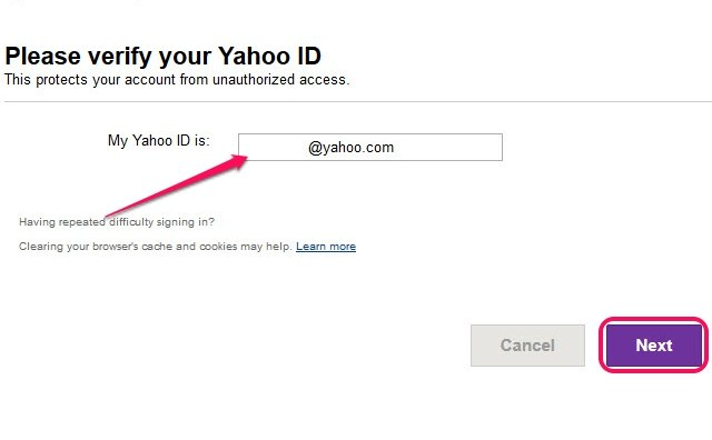 Entering only the name before @yahoo.com is also acceptable in the My Yahoo ID Is field.