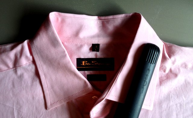 A straightener works great for wrinkles on the collar and around buttons.