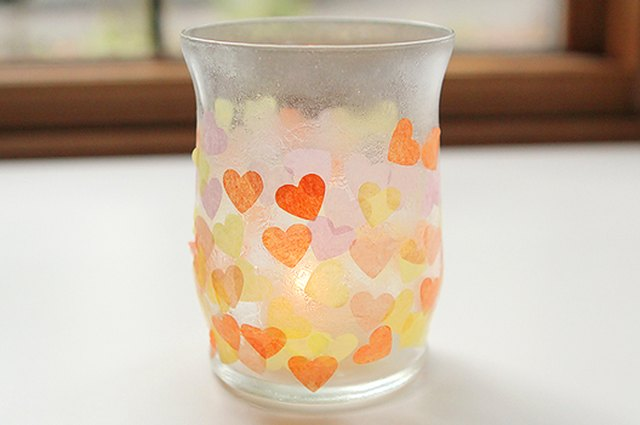 Tissue Paper Mosaic Candle Holders