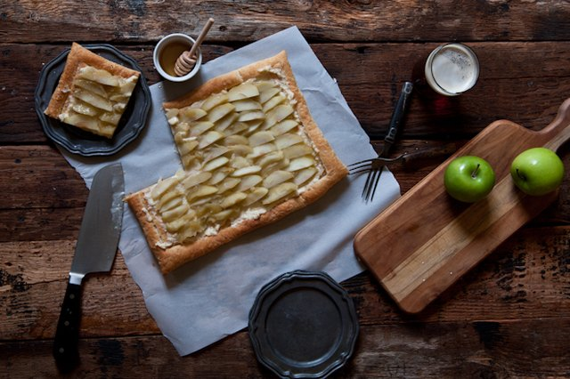Beer Poached Apple and Honey Mascarpone Tart