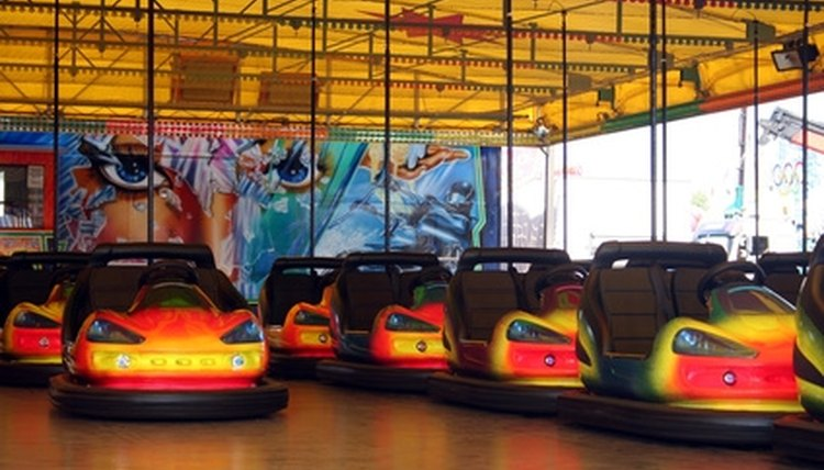 Traditional bumper cars at rest.