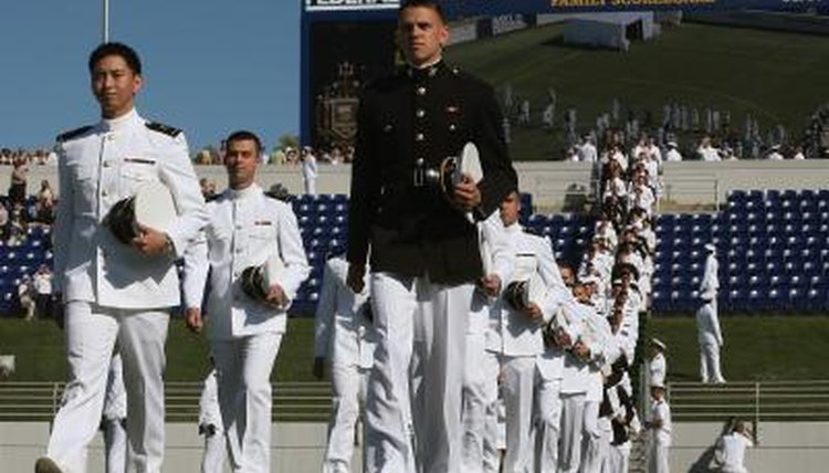 Long line of Naval Academy students