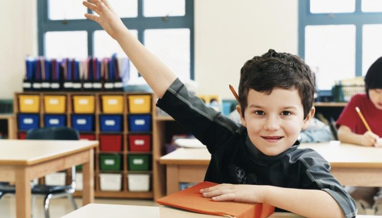 Young student raising his hand in classroom.