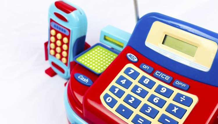 You can use toy cash registers in the classroom for younger students.