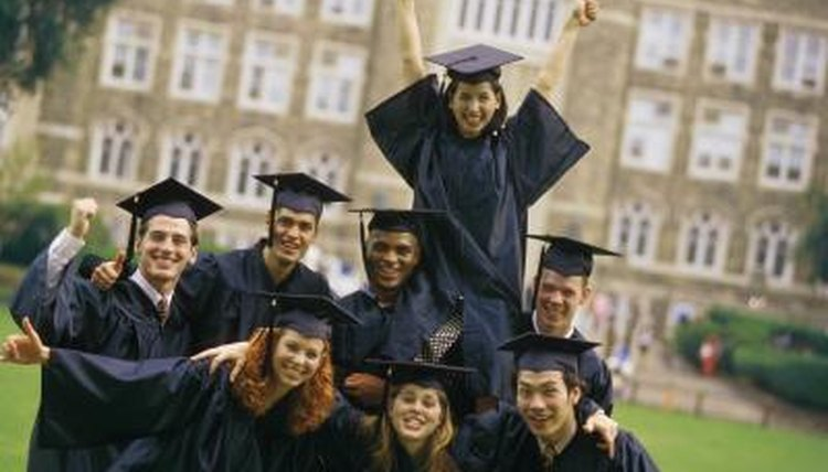 Group of smiling college graduates.