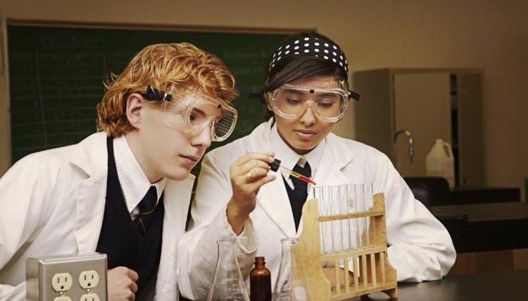 Private school students in science class.