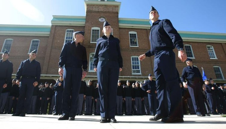 ROTC students preparing for a drill on campus