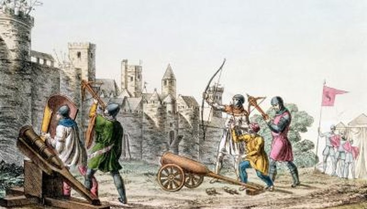 Cartoon illustration of a battle during the Hundred Years' War.