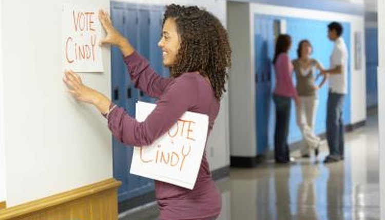 Student council nominees often use slogans to gain votes.