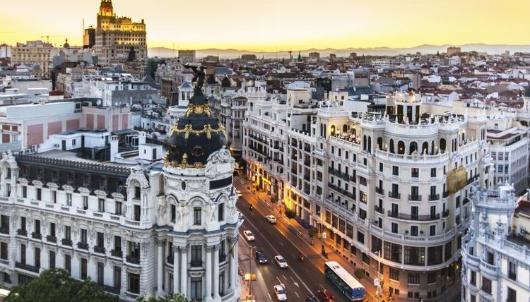 Arial shot of Madrid, Spain.