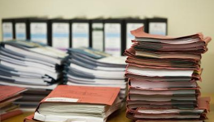 Piles, business records, evidence, a court case