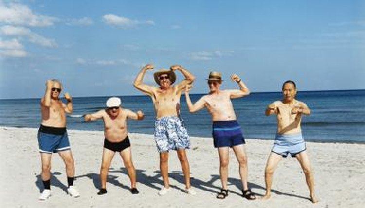 Group of senior men on beach vacation