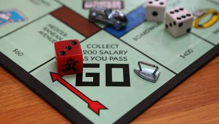 Close-up of a Monopoly board.