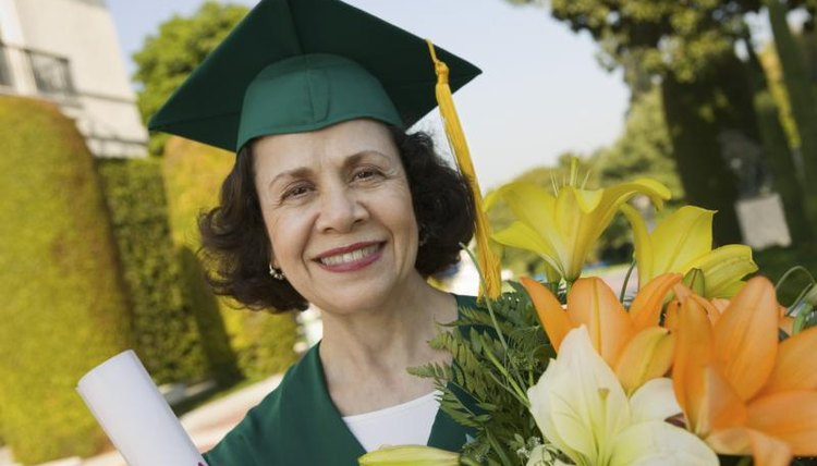Mature woman graduating from school.