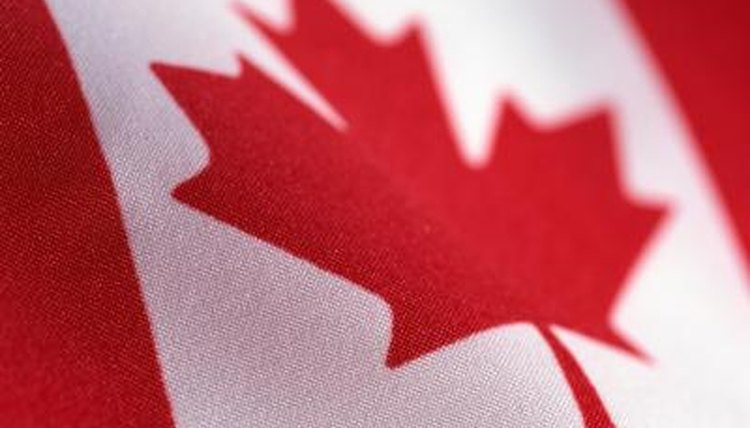 Close up of Canadian flag.