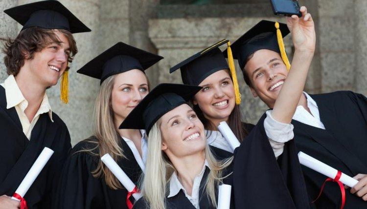 Group of smiling students at graduation