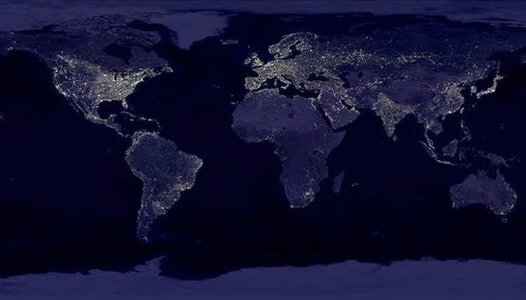 Earth at night. Lights indicate human settlement.