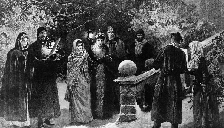 Caroling for neighbors was a common celebration for Victorians, as illustrated Arthur Hopkins in 1891.