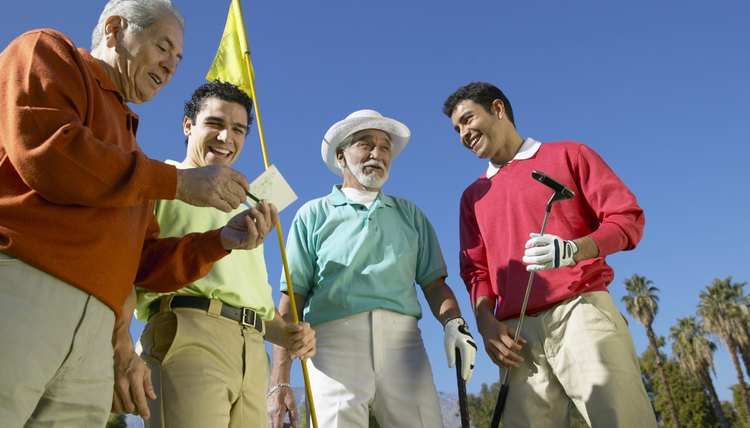Golf's handicap system allows players to compete equitably in a match-play competition, whether two or four players are involved.
