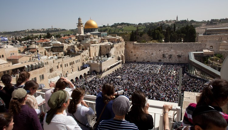 Thousands of Jews gather at the Western Wall to celebrate Passover.