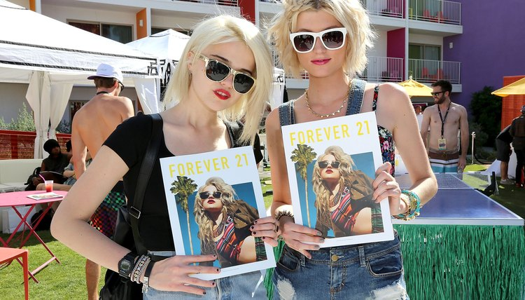 Models Sky Ferreira and Sophie Sumner attend a Forever 21 party.