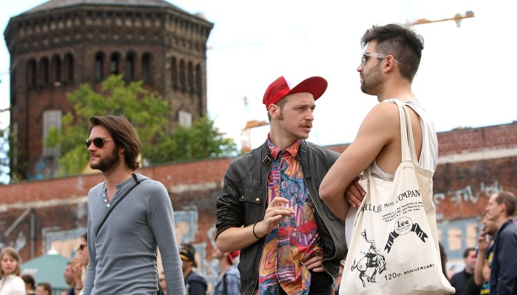 Men celebrate hipster fashion at the 2012 Hipster Olympics in Berlin, Germany.