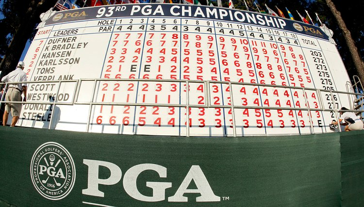 The 2011 PGA Championship scoreboard shows plenty of below-par numbers in red, and a few even-par scores in black.