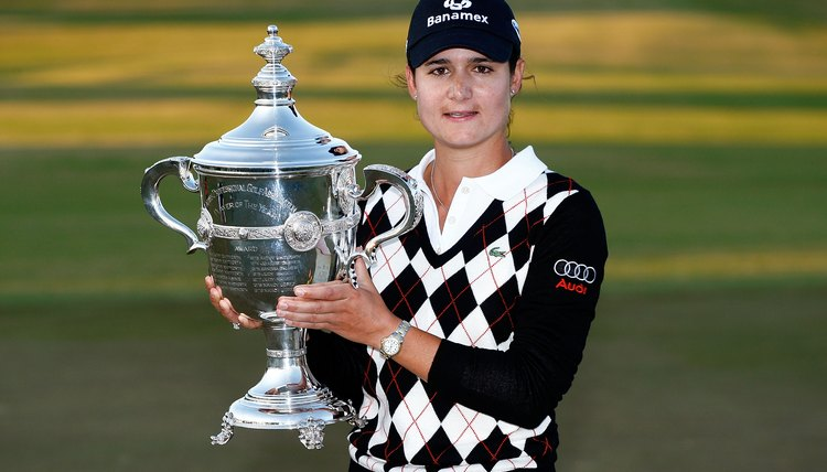 Lorena Ochoa poses with the LPGA Player of the Year trophy, which she won each year from 2006 through 2009.
