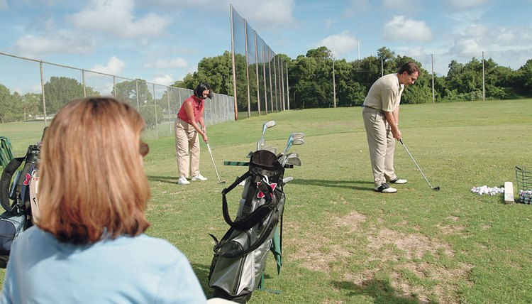 Golf swing drills are often performed on the practice range.