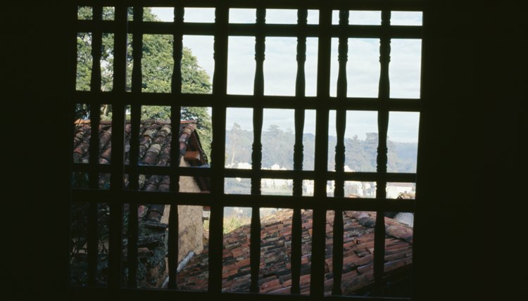 View through barred windows in Guatemala