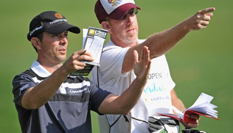 A college golfer's use of a rangefinder is limited to measuring distance, making a caddie's advice valuable.