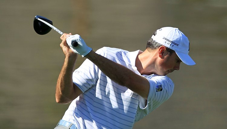 Matt Kuchar uses a rotary swing during a 2012 PGA Tour event. Note that his left arm is on the same plane as his shoulders.