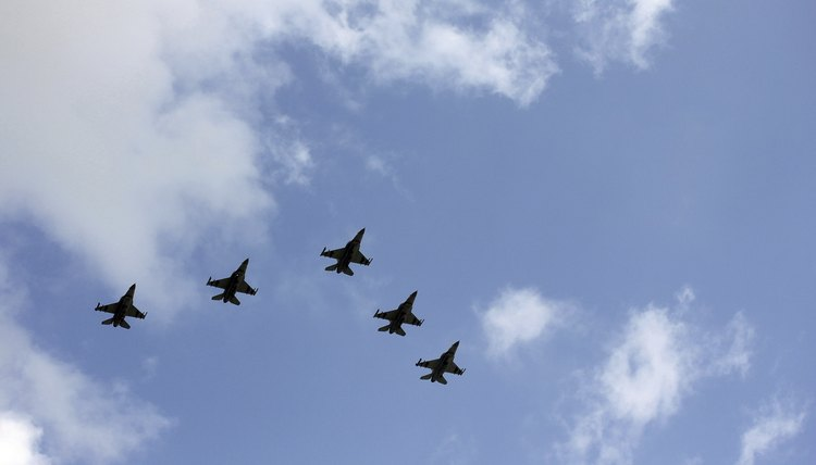 Military jets flying in formation.