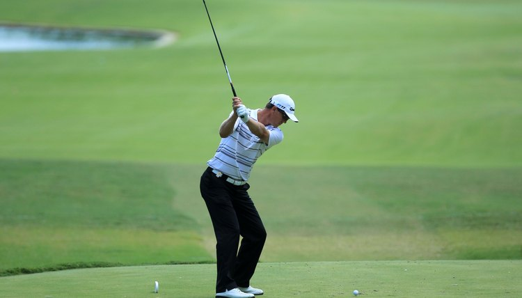 John Senden's wrists are fully cocked as he finishes his backswing.