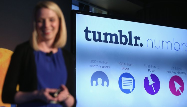 Yahoo CEO Marissa Meyer announces the company's acquisition of Tumblr.
