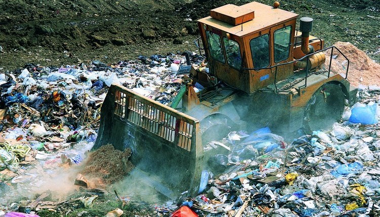 Recycling and source reduction can reduce the amount of solid waste in landfills.