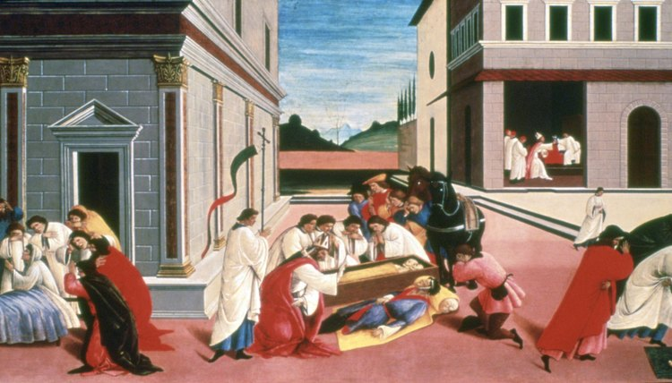 "During the Savonarola period in Florence, Botticelli painted ""Three Miracles of Saint Zenobius,"" part of a series of panels about Zenobius."