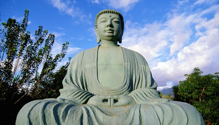Statues of Buddha aren't worshiped, but serve as reminders to seek enlightenment.