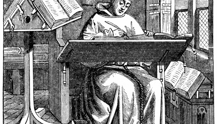 Before the invention of the printing press, books were hand-copied, often in monasteries.