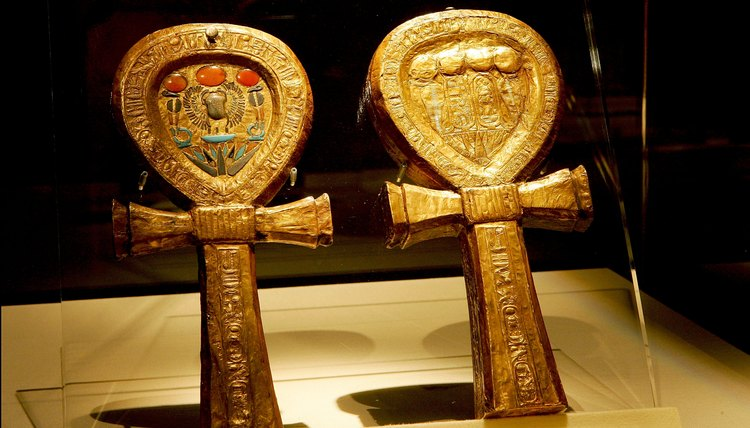 Ankhs were carved into almost everything Egyptians used, including these mirror cases.