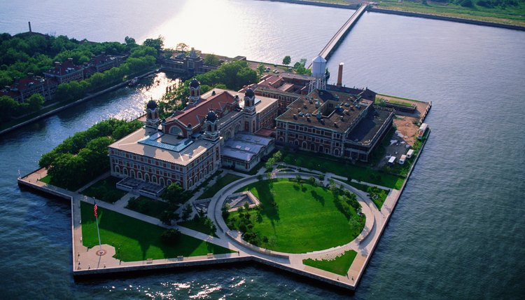 The wooden buildings on Ellis Island burned to the ground in 1897, shortly following their construction.