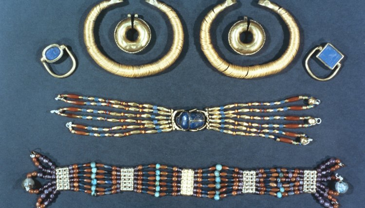 The jewelry of ancient Egypt was crafted with semiprecious stones, gold and copper.