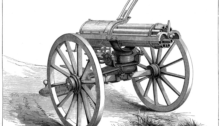 The Gatling gun  debuted in the 1800s.