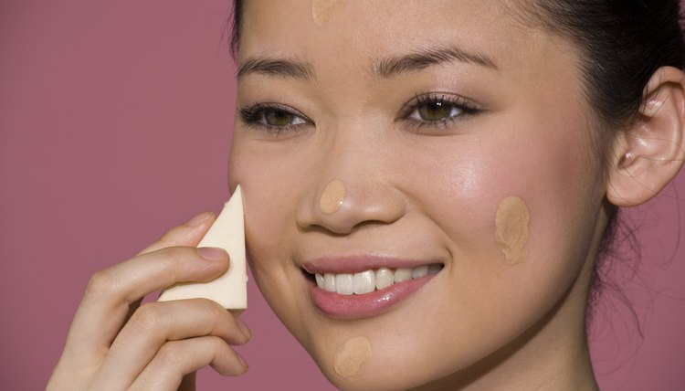 Use a sponge to blend in foundation to give your face a flawless finish.