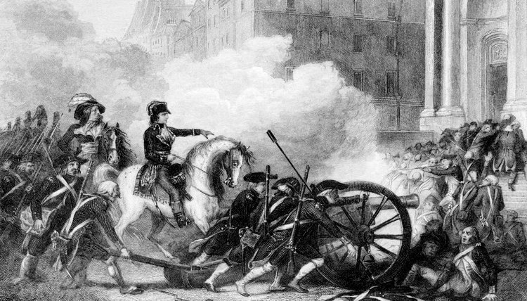 A depiction of Napoleon defeating counter-revolutionaries during the French Revolution.