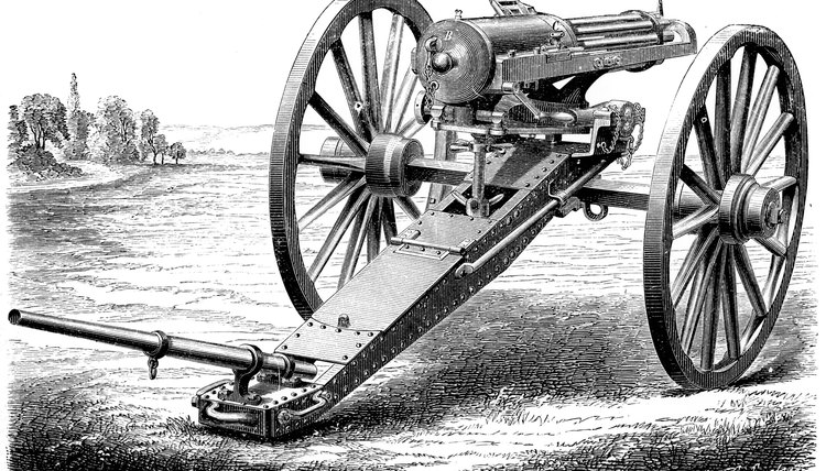 The Gatling Gun was a machine gun mainly used for defensive purposes.