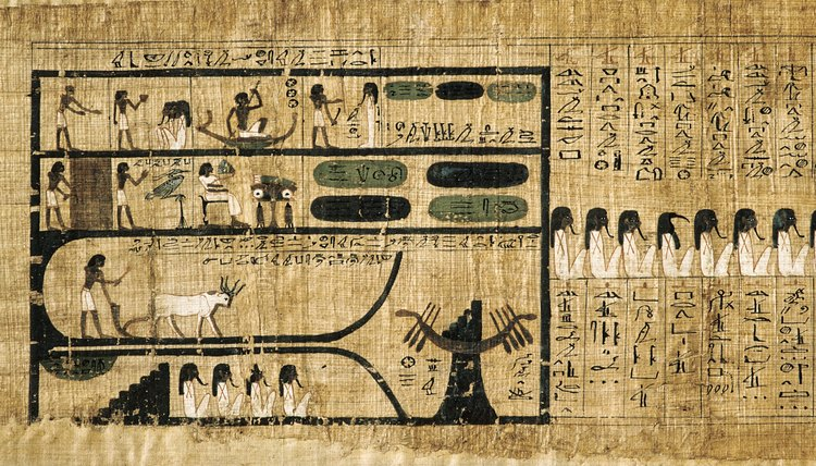 Funeral processions are depicted in hieroglyphic form inside Egyptian tombs.